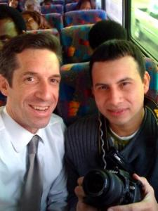 Mark Joyella and Mario Alonso Aboard the Obama Bus